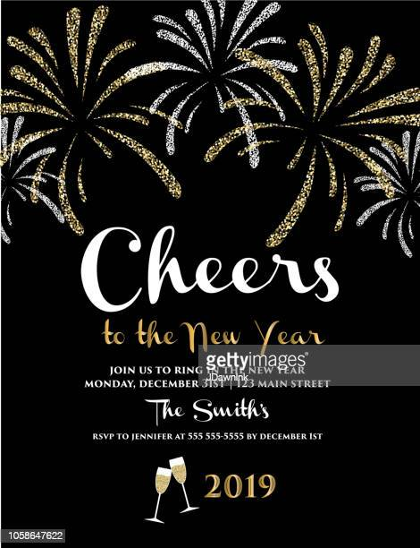 New Years 2019 greeting card design banner with text