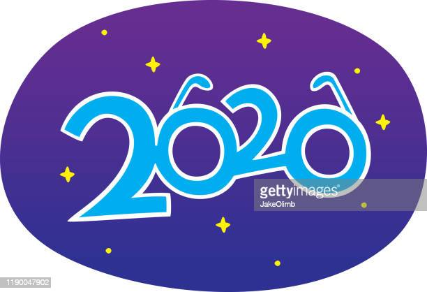 new years 2020 glasses doodle - eyeglasses stock illustrations