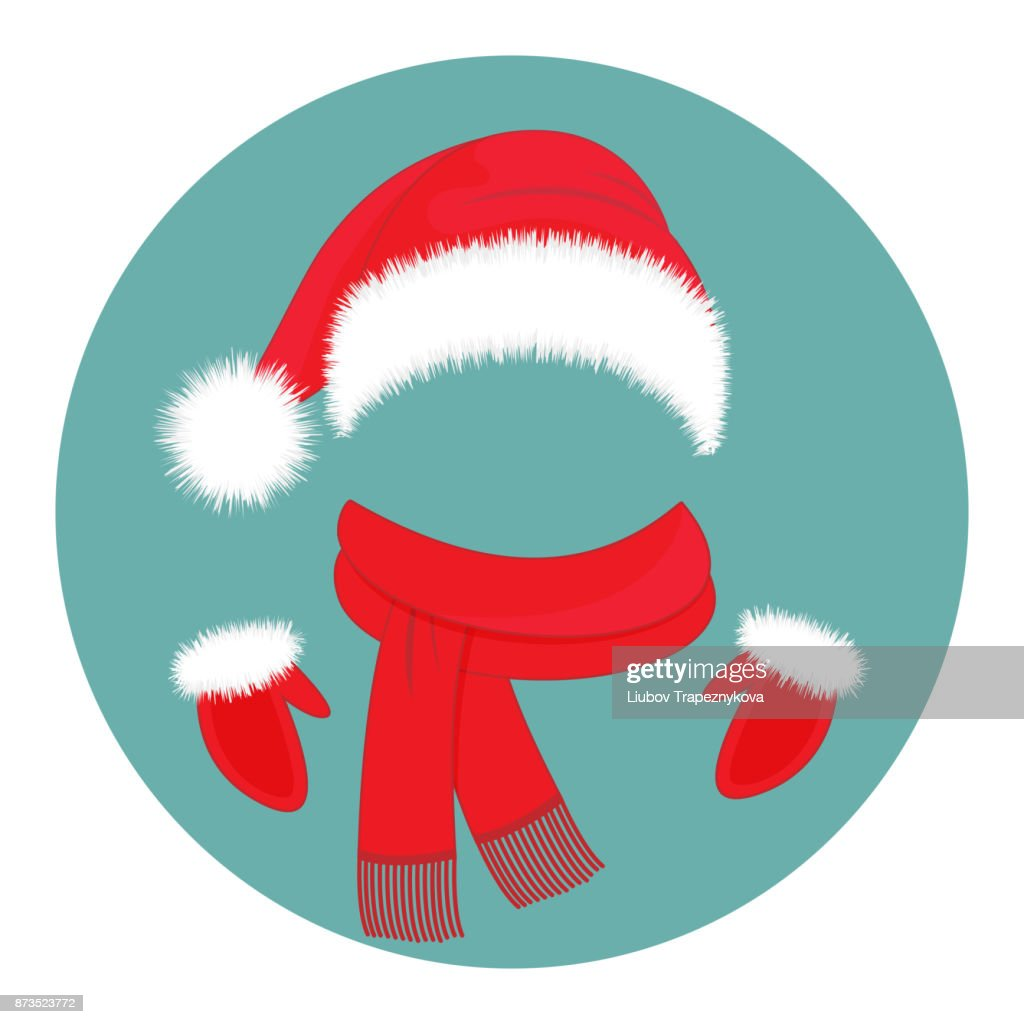 New Year's accessories. Hat Santa Claus, scarf and mittens