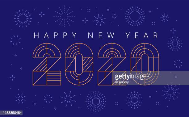 new year's card 2020 with fireworks and wishes - new year stock illustrations