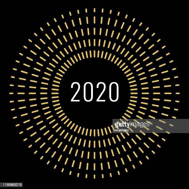 new year's card 2020 with fireworks, modern design - midnight stock illustrations