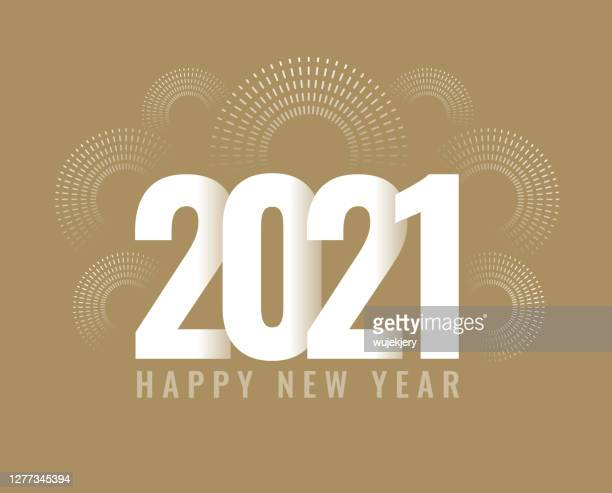 new year's card 2021 with fireworks, modern design - 2021 stock illustrations