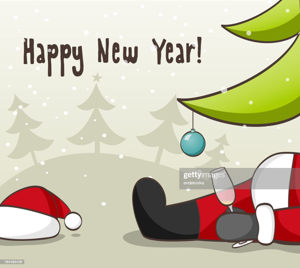 New Year's card of Santa drunk under tree with empty glass