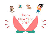 """2018 New Year's card(""""Momotaro"""" is a well-known story in Japan)"""