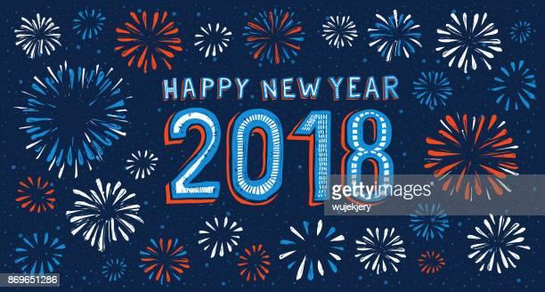 Tarjeta de año nuevo con fuegos artificiales en el fondo