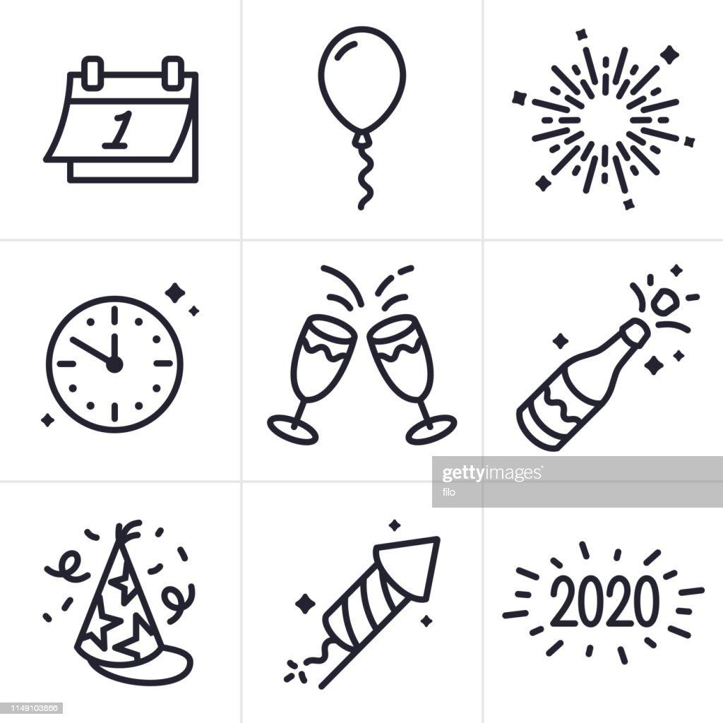 New Years Celebration Line Icons and Symbols : stock illustration