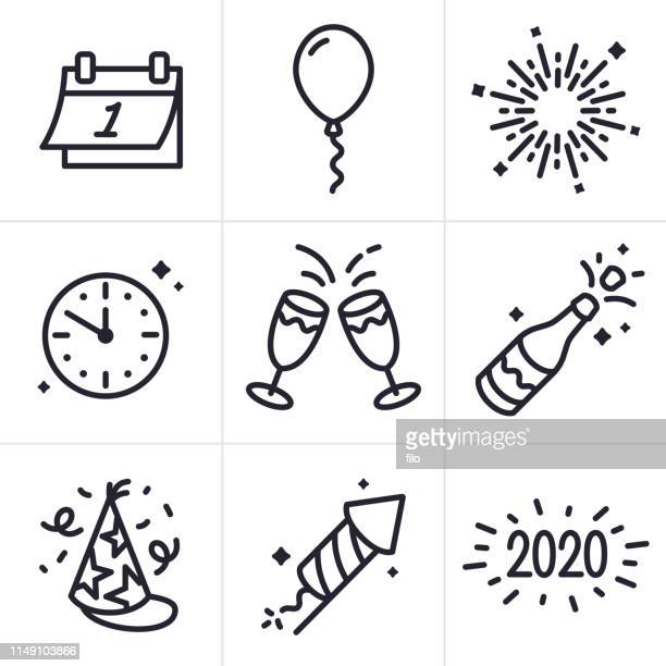 new years celebration line icons and symbols - sparks stock illustrations, clip art, cartoons, & icons