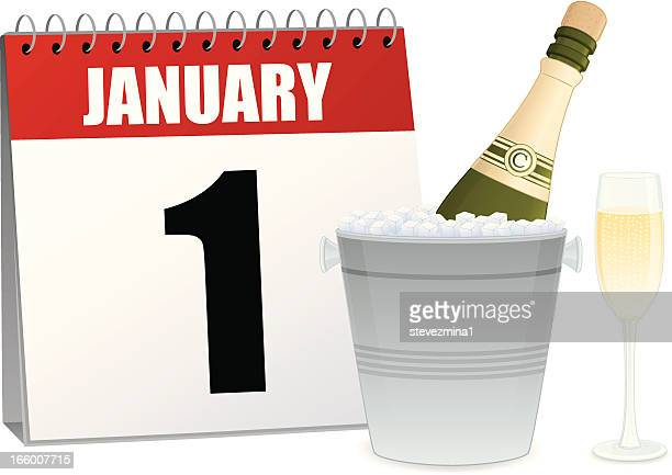 new year's day calendar - ice bucket stock illustrations, clip art, cartoons, & icons