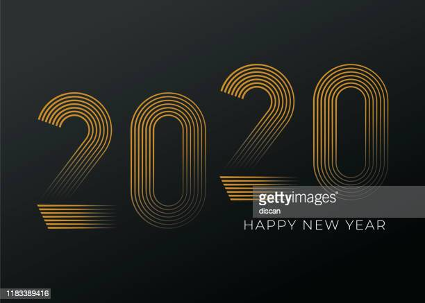 new year's day card 2020. happy new year design. - midnight stock illustrations