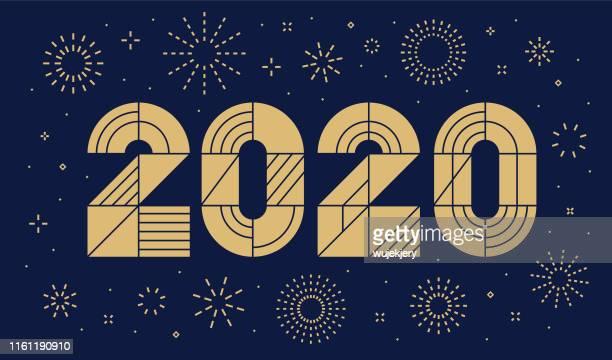 neujahrskarte 2020 mit feuerwerk - 2020 stock-grafiken, -clipart, -cartoons und -symbole