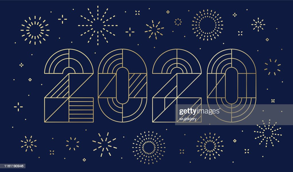 New Year's day card 2020 with fireworks : Stock Illustration