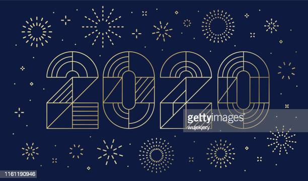 new year's day card 2020 with fireworks - celebration stock illustrations