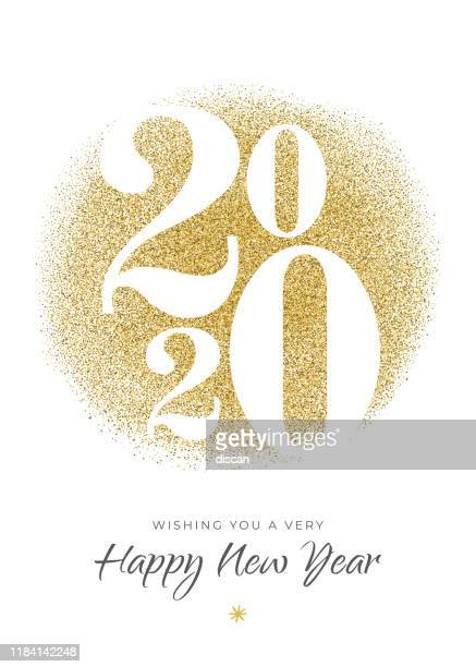 2020 - new year's day card with golden glitter. - happy new month stock illustrations