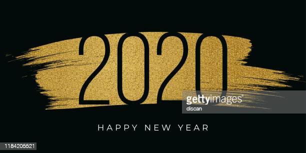 illustrazioni stock, clip art, cartoni animati e icone di tendenza di 2020 - biglietto di capodanno con glitter dorati. - 2020