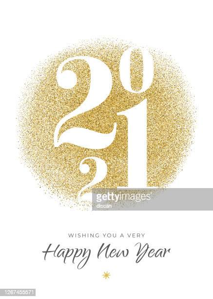 2021 - new year's day card with golden glitter. - 2021 stock illustrations