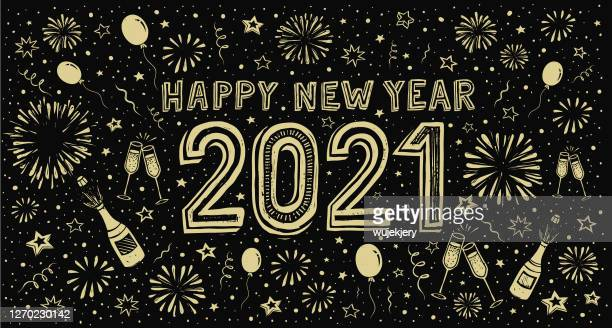 new year's doodle card on fireworks background, confetti and stars - new year's eve stock illustrations