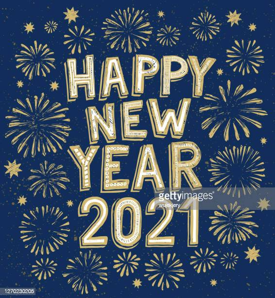 new year's doodle card on fireworks background, confetti and stars - 2021 stock illustrations