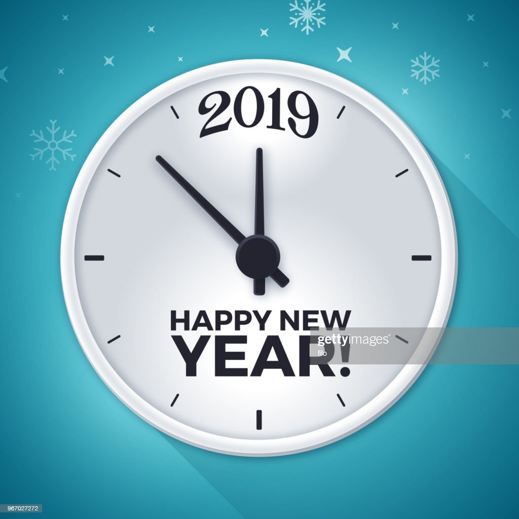 New Years Eve 2019 New Year Clock Vector Art | Getty Images
