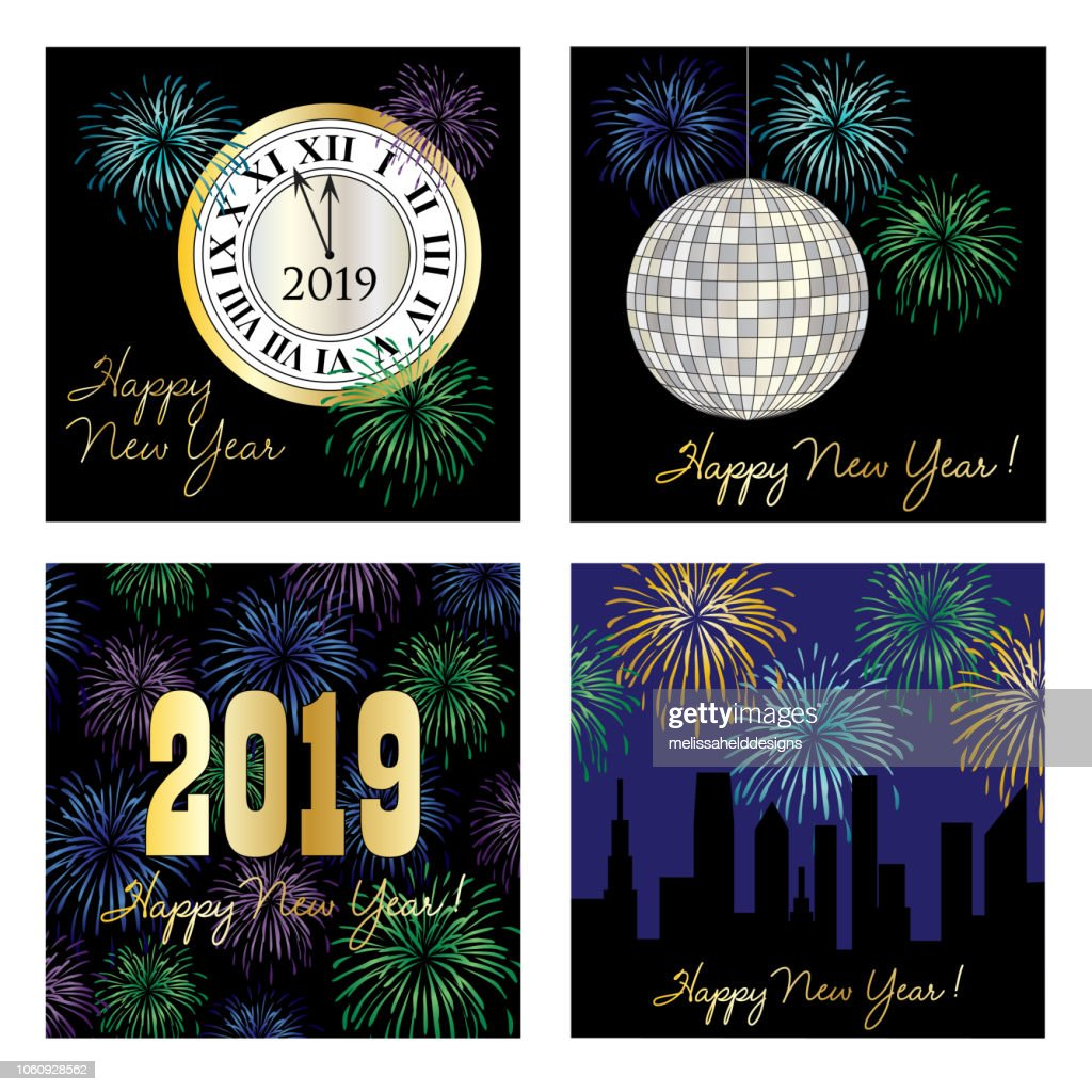 new years eve 2019 square vector graphics
