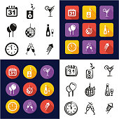 New Years Eve All in One Icons Black & White Color Flat Design Freehand Set