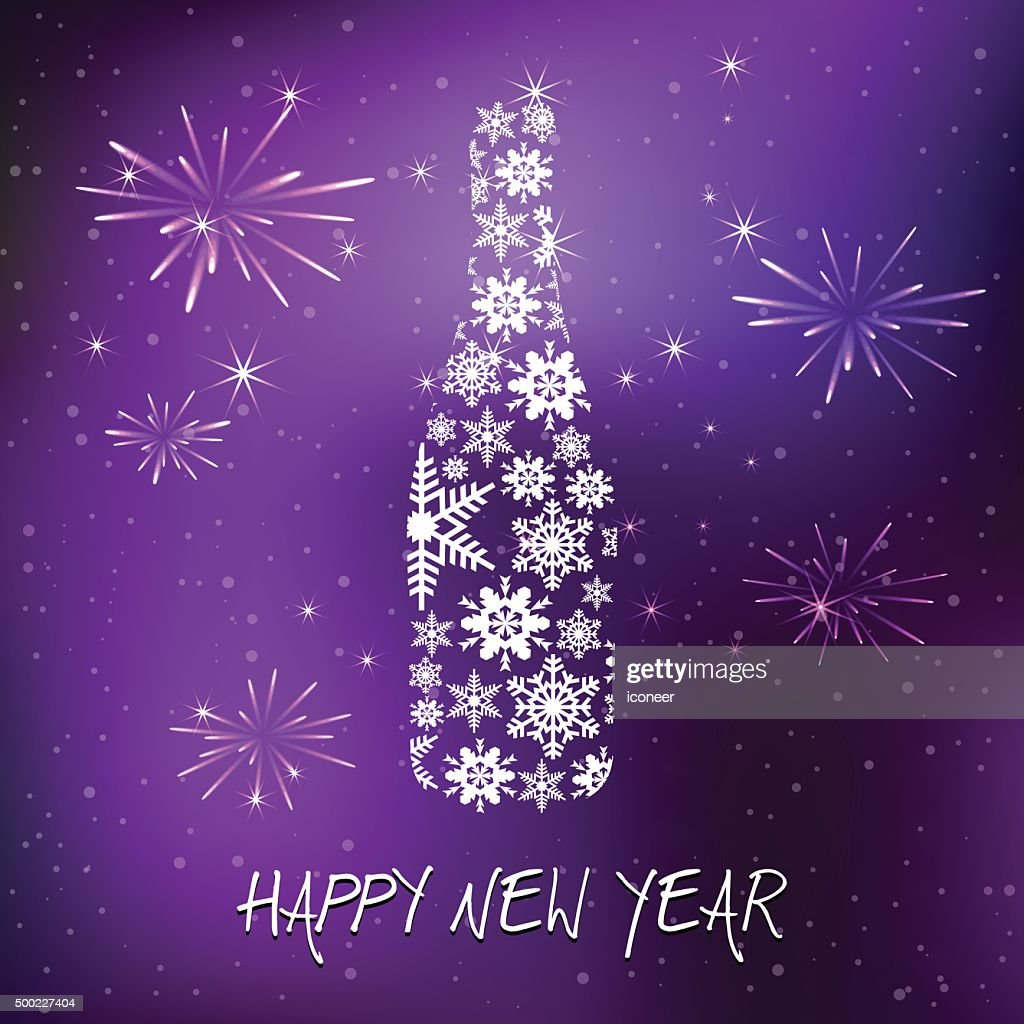 new years eve champagne bottle on purple background vector art