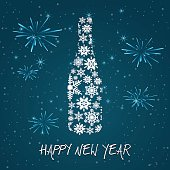New year's eve champagne bottle on teal background