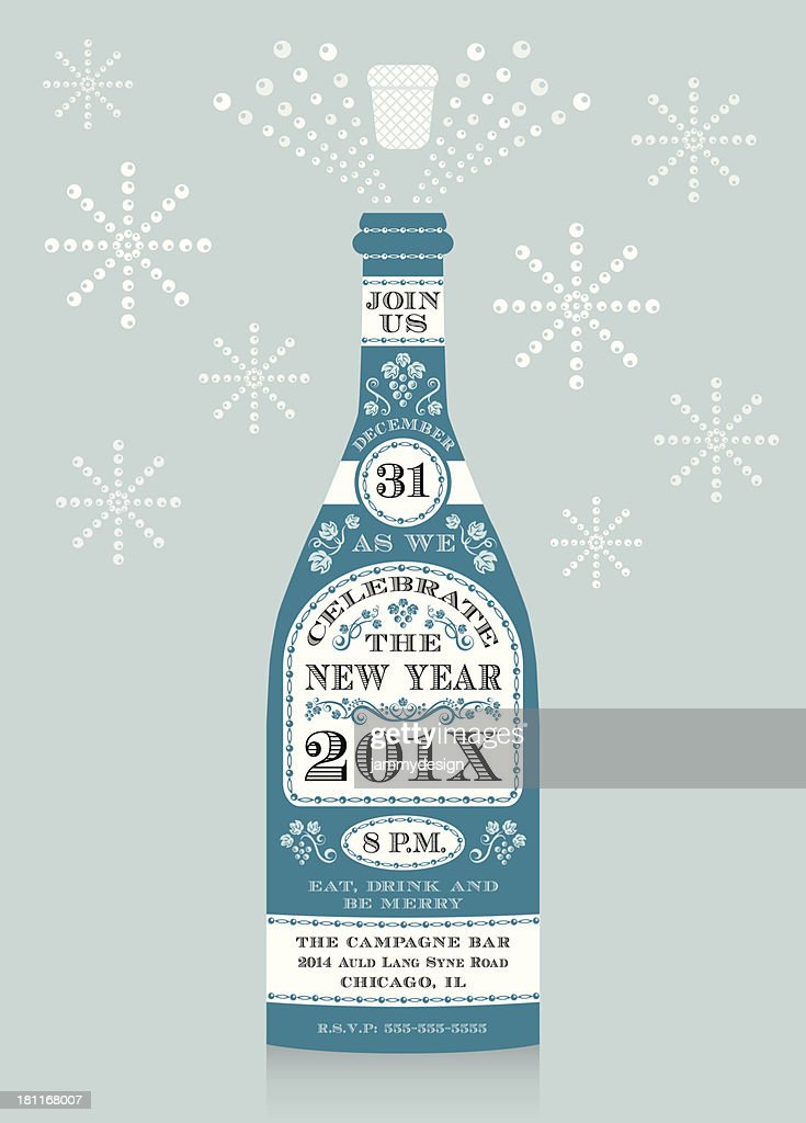 new years eve champagne invitation vector art