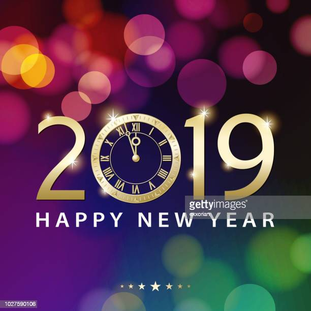 new year's eve countdown 2019 - illuminated stock illustrations