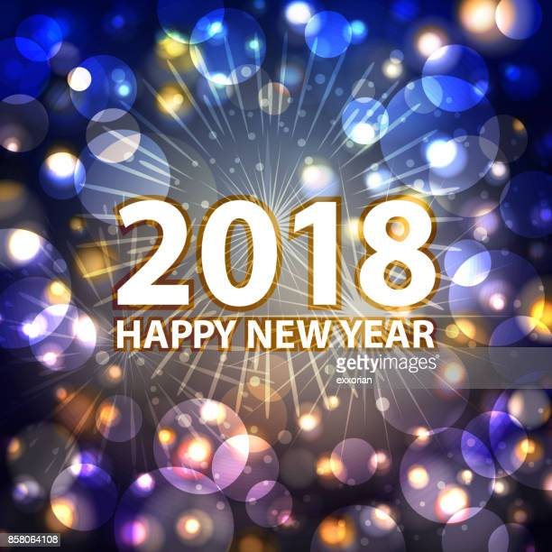 new year's eve fireworks 2018 - blink stock illustrations, clip art, cartoons, & icons
