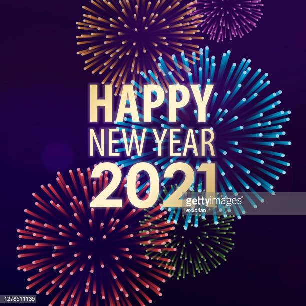 2021 new year's eve fireworks spectacular - midnight stock illustrations