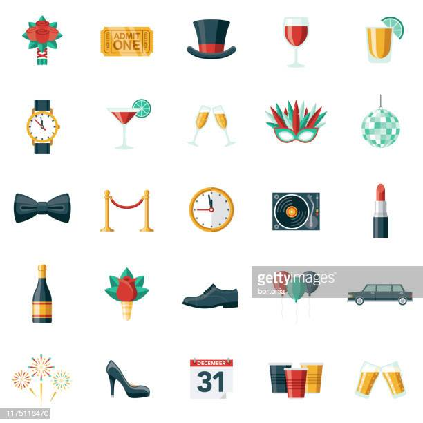 new year's eve party icon set - top hat stock illustrations