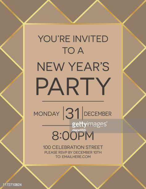 new year's eve party invitation template. art deco style - gatsby image stock illustrations