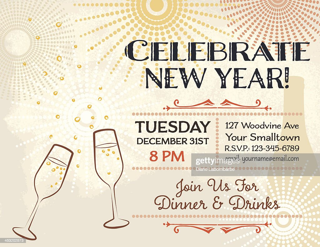 New Years Eve Party Invitation Template Vector Art | Getty Images