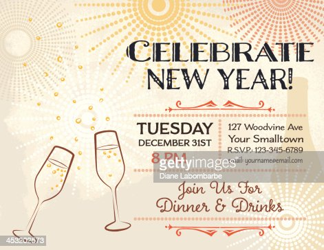 New Years Eve Party Invitation Template Vector Art | Getty ...  New Years Eve P...