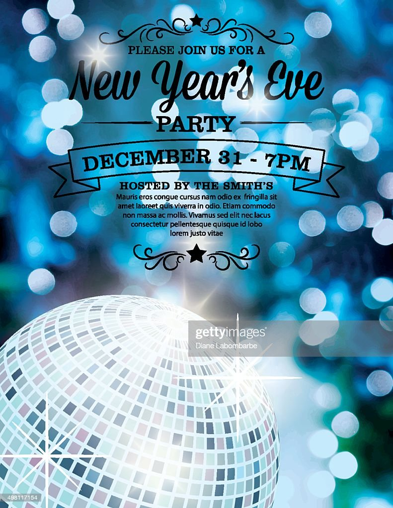 New Years Eve Party Invitation Template : Stock Illustration