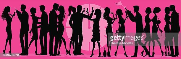 ilustraciones, imágenes clip art, dibujos animados e iconos de stock de fiesta de la víspera de año nuevo de silhouette - social grace