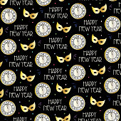new years eve vector pattern with clocks and gold masks