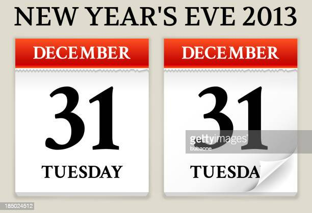 new year's evecalendar date - weekday stock illustrations