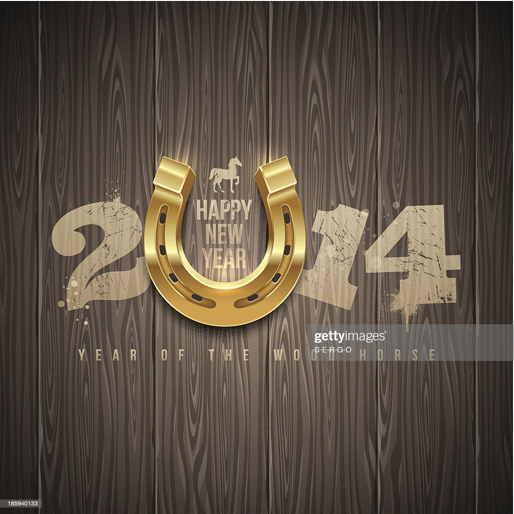 New years holidays design with painted numbers and horseshoe