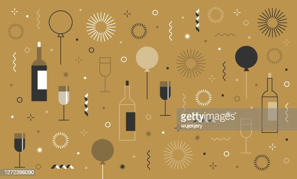 new year's party festive birthday background and icon set - birthday stock illustrations