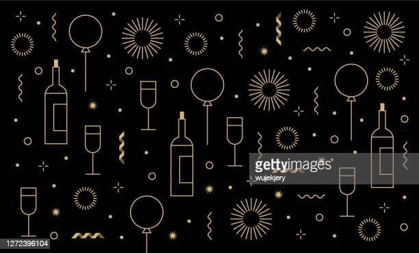new year's party festive birthday background and icon set - birthday card stock illustrations