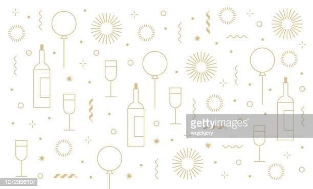 neujahrsparty festlichen geburtstag hintergrund und icon-set - gratulieren stock-grafiken, -clipart, -cartoons und -symbole