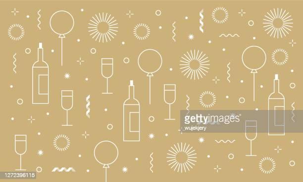 ilustrações, clipart, desenhos animados e ícones de fundo de aniversário festivo festa de ano novo e conjunto ícone - aniversário