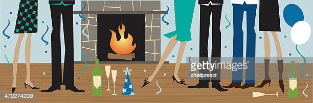 new years party - hardwood floor stock illustrations, clip art, cartoons, & icons