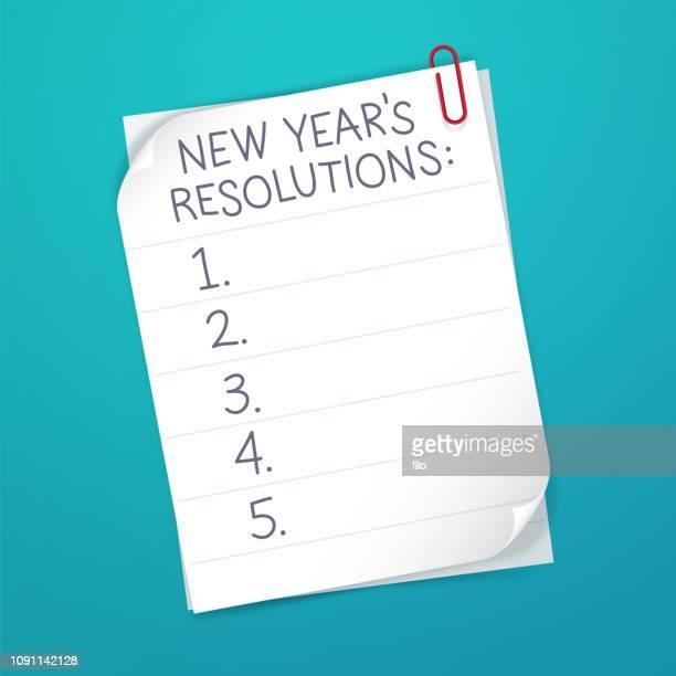 ilustraciones, imágenes clip art, dibujos animados e iconos de stock de lista de resolución de año nuevo - determinación