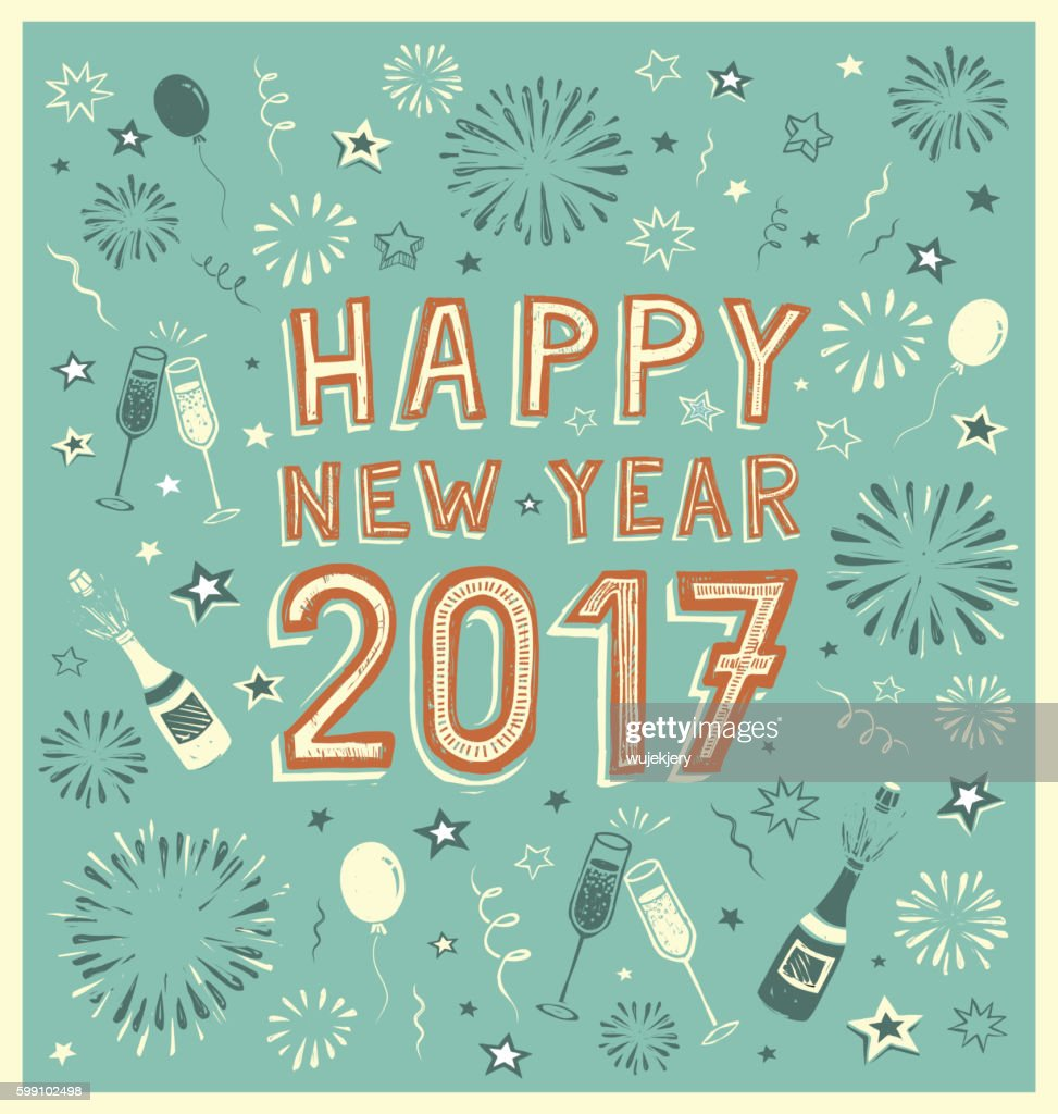 New Year's vintage doodle card.