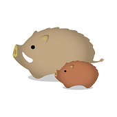 New year's wild boar ornament illustration (parent and child).