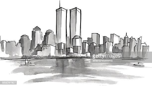 ニューヨーク 9 ~11 日 - ニューヨーク 世界貿易センター点のイラスト素材/クリップアート素材/マンガ素材/アイコン素材
