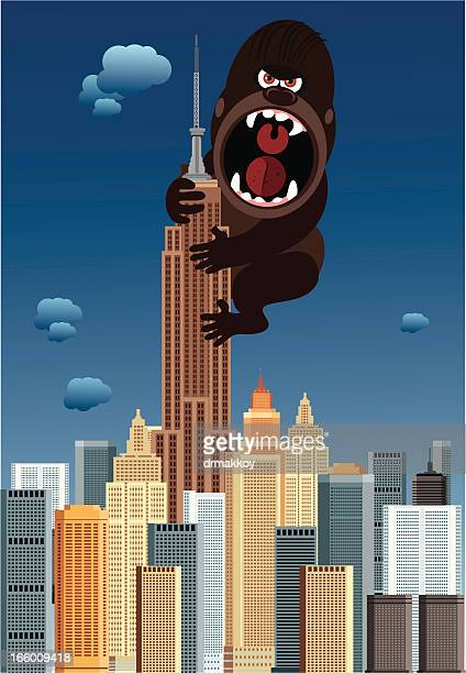 new york and gorilla - empire state building stock illustrations, clip art, cartoons, & icons