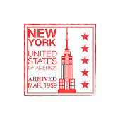 New York arrival ink stamp on passport.